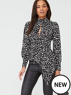v-by-very-high-neck-satin-blouse-polka-dot
