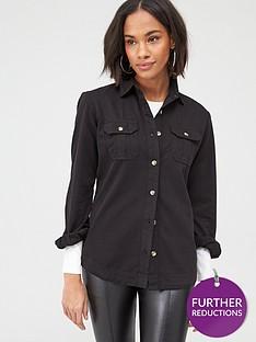 v-by-very-essential-twillnbspdenim-shirt-black