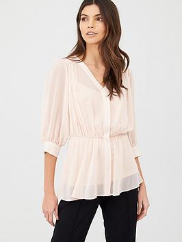 V by Very V By Very Georgette Peplum Top - Blush Picture