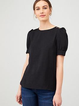V by Very V By Very Button Ruched Short Sleeve Shell Top - Black Picture