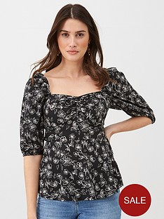 v-by-very-square-neck-bubble-sleeve-blouse-print