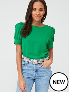 v-by-very-button-ruched-short-sleeve-shell-top