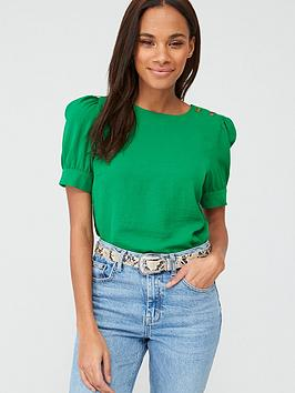 V by Very V By Very Button Ruched Short Sleeve Shell Top - Green Picture