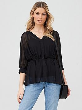 V by Very V By Very Georgette Peplum Blouse - Black Picture