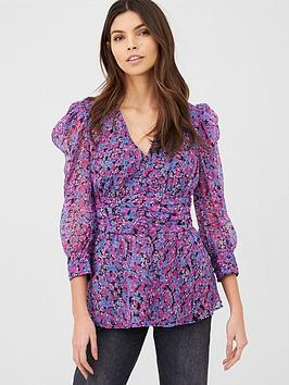 V by Very V By Very Printed Ruched Waist Blouse - Print Picture