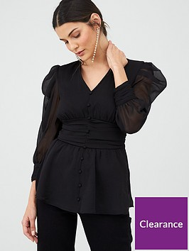 v-by-very-ruched-waist-blouse-black
