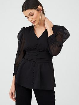 V by Very V By Very Ruched Waist Blouse - Black Picture