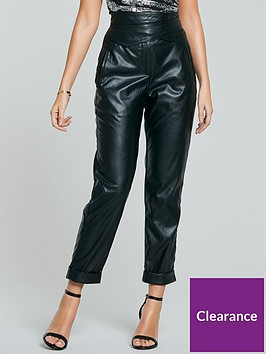 michelle-keegan-wrap-high-waisted-pu-trousers-black