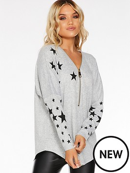 quiz-cut-amp-sew-knit-star-zip-front-long-sleeve-top-grey