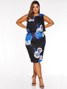 quiz-curve-curve-floral-print-midi-dress-blackroyal-blue