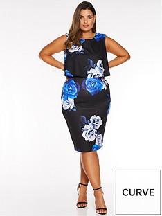 quiz-curve-floral-print-midi-dress-blackroyal-blue