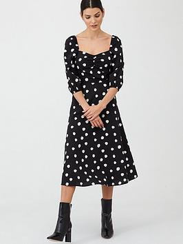V By Very Spot Puff Sleeve Midi Dress - Spot Print