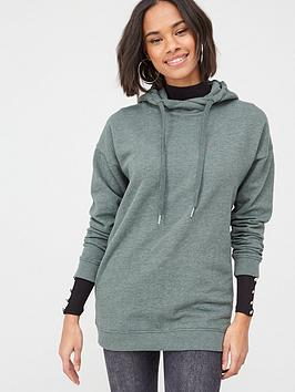 V by Very V By Very Cross Neck Oversized Hoodie - Forest Green Picture