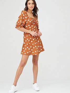 v-by-very-spot-puff-sleeve-tea-dress-printed