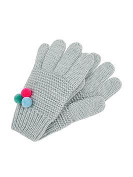 Accessorize   Multi Mini Pom Pom Gloves - Grey