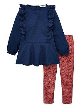 V by Very V By Very Girls 2 Piece Ruffle Top And Leggings Set - Multi Picture