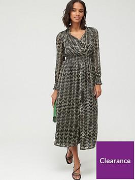 v-by-very-shirred-waist-textured-mini-dress-black