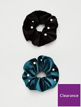 michelle-keegan-2-pack-pearl-hair-scrunchie-blackemerald