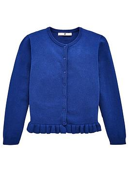 V by Very V By Very Girls Ruffle Cardigan - Navy Picture