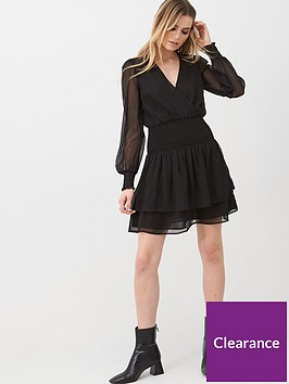 v-by-very-georgette-shirred-ruffle-dress-black