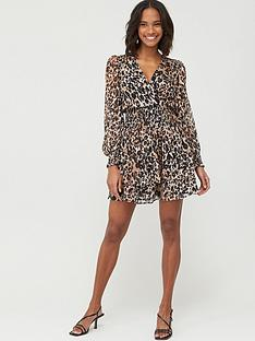 v-by-very-woven-shirred-ruffle-dress-ndash-leopard