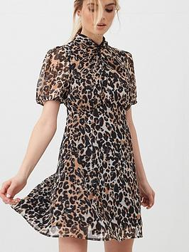 V by Very V By Very Georgette Twist Neck Mini Dress - Leopard Picture