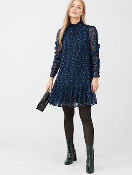 v-by-very-georgette-ruched-sleeve-tunic-dress-spot