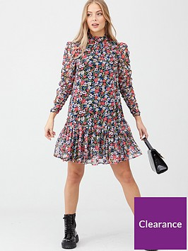 v-by-very-georgette-ruched-sleeve-tunic-dress-floral