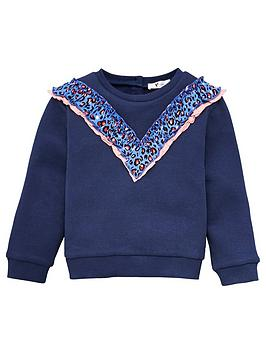V by Very V By Very Girls Ruffle Detail Sweat Top - Navy Picture