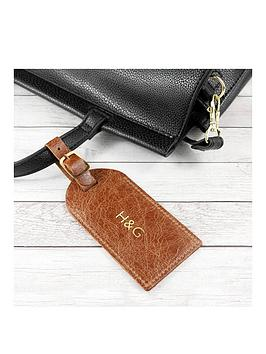 Very  Natural Tan Foiled Leather Luggage Tag - Personalised