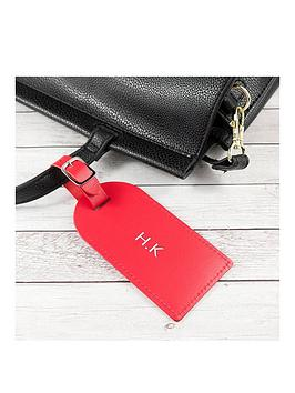Very  Personalised Red Foiled Leather Luggage Tag