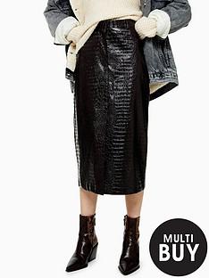 topshop-croc-vinyl-midi-skirt-burgundy