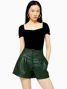 topshop-topshop-ruched-front-t-shirt-black