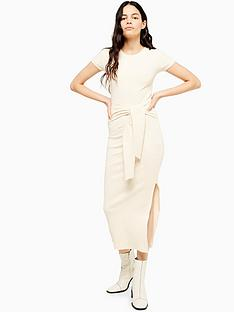 topshop-wide-belt-ribbed-column-dress-ecru