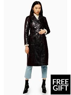 topshop-topshop-vinyl-croc-belted-trench-coat-oxblood