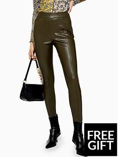 topshop-topshop-pu-skinny-trousers-khaki