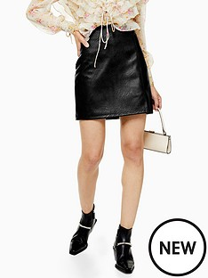 topshop-topshop-split-front-pu-mini-skirt-black