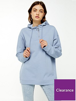 topshop-topshop-half-zip-hoodie-blue