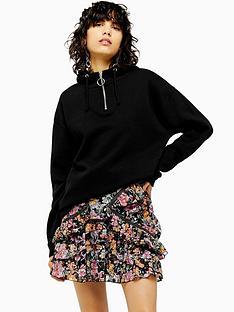 topshop-topshop-half-zip-hoodie-black