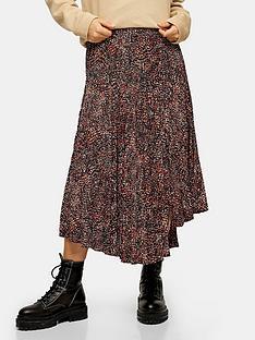 topshop-textured-animal-pleat-midi-skirt-brown