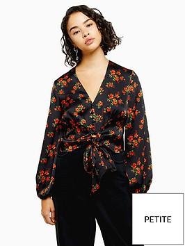 topshop-petite-floral-tie-front-blouse-black