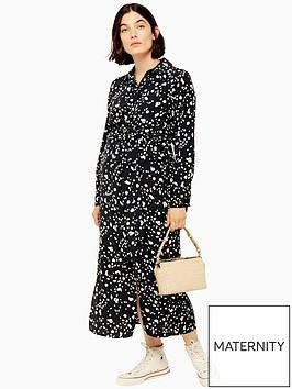 topshop-maternity-tie-front-midi-dress-monochrome