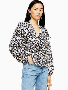 topshop-daisy-print-blouse-black
