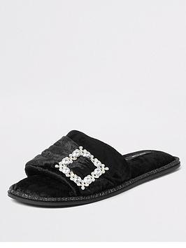 river-island-river-island-brooch-open-toe-mule-slipper-black