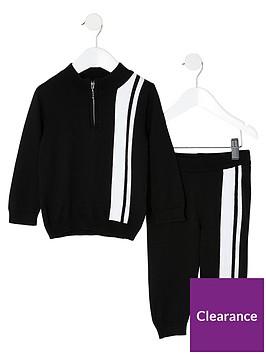 river-island-mini-mini-boys-stipe-knitted-tracksuit-black