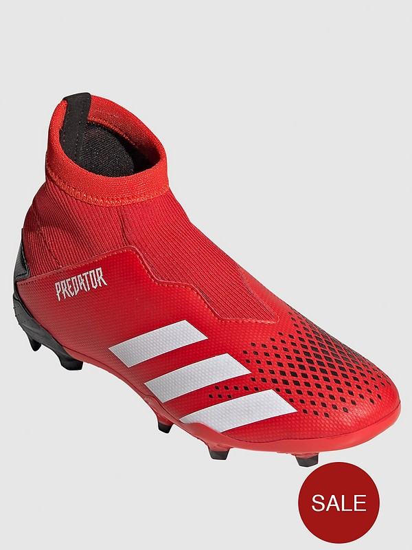 Junior Predator Laceless 19.3 Firm Ground Football Boots - Red/Black