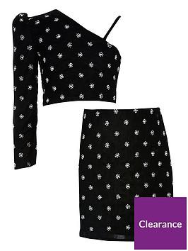 river-island-girls-embelished-velvet-top-and-skirt-set-black