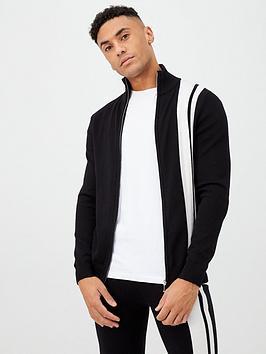 river-island-black-stripe-funnel-neck-knitted-jacket