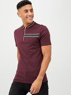 river-island-dark-red-maison-riviera-zip-neck-polo-shirt
