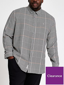 river-island-big-and-tall-light-grey-check-regular-shirt